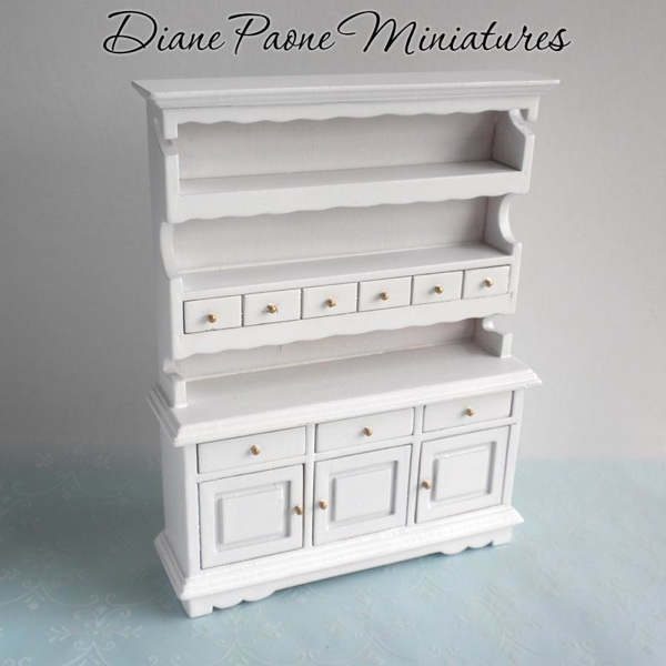 Kitchen Wall Cabinet Hutch Cupboard Shabby French Cottage Dollhouse Miniatu